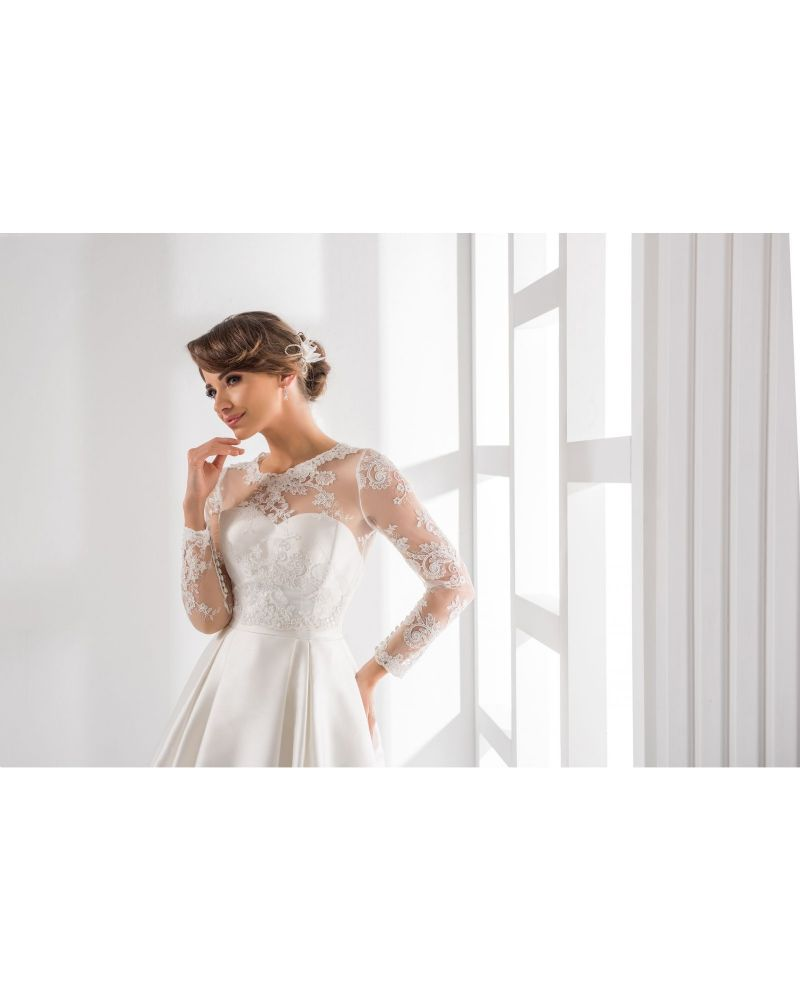 Jasmine lace bridal bolero, lace wedding jacket long sleeves